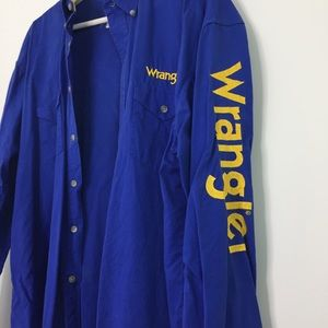 Mens Wrangler Royal Blue Western Button Down Shirt